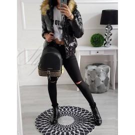 Lesklá bunda Fashion - čierna