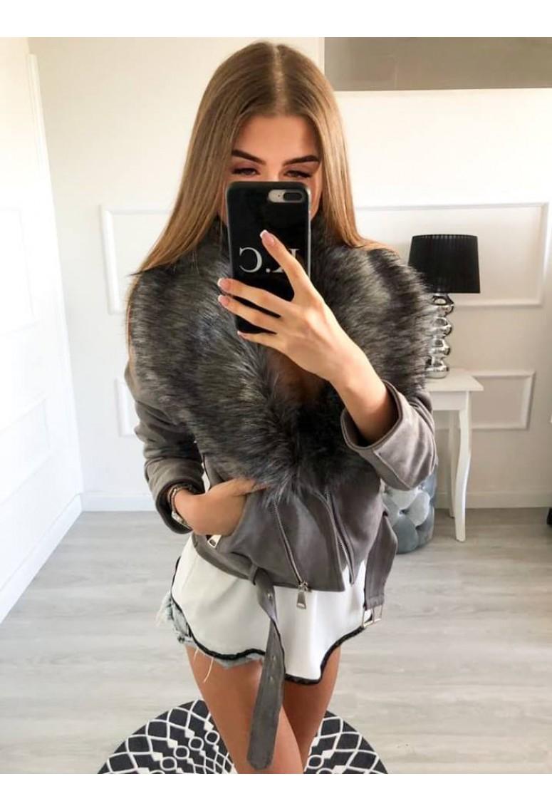 Hrubá semišová bunda Miss s kožušinou -sivá