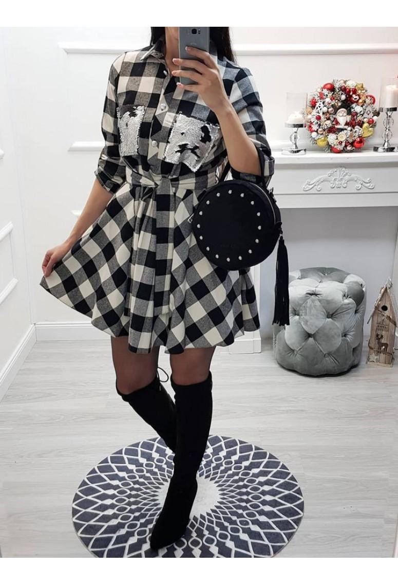 Kárované šaty Nicca - bielocierne 060d2c46303