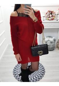 Svetríkové šaty s krajkou Bora - červené