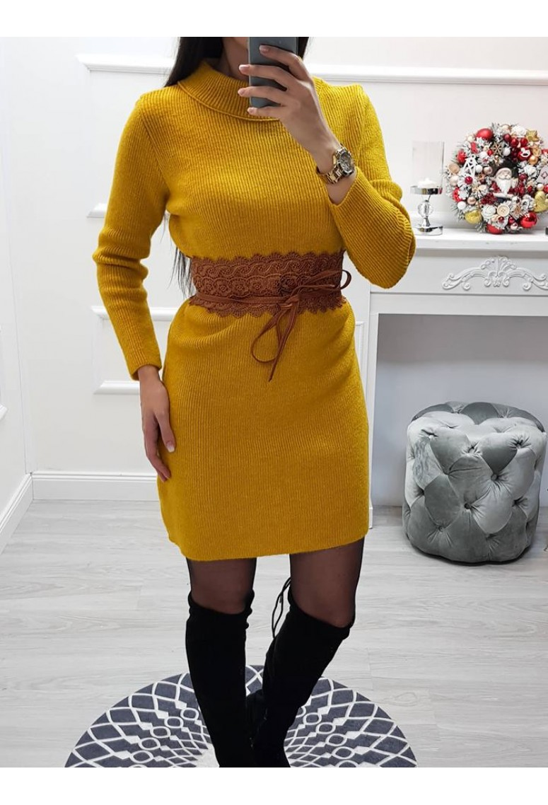Pletené šaty MY FASHION - horčicové