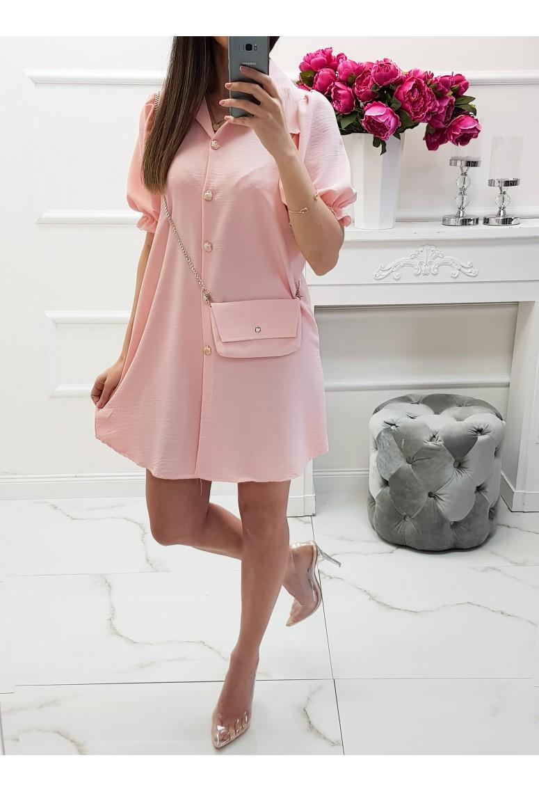 Košeľové šaty s kabelkou Loira - peach pink
