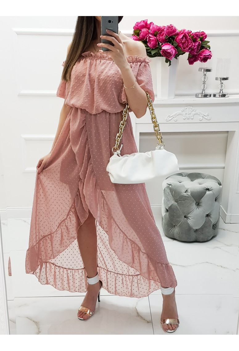 Dlhé asymetrické šaty Oxana - oldpink