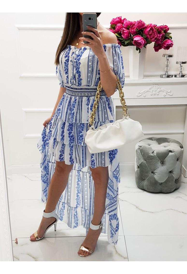 Dlhé asymetrické šaty Rania - blue