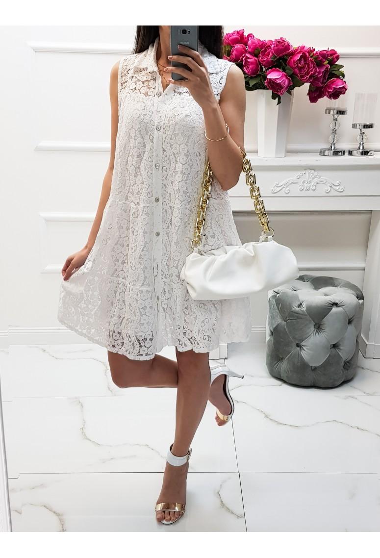 Košeľové čipkované šaty Neapol - biele