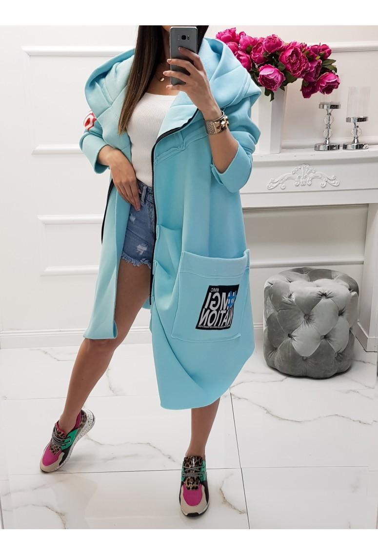 Asymetrický zateplený teplákový kabátik MC - baby blue