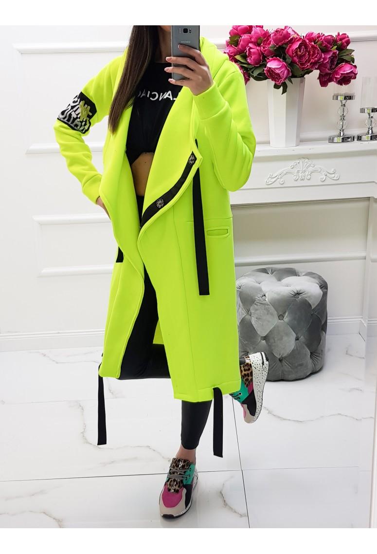 Hrubý teplákový kabát MC - neon yellow