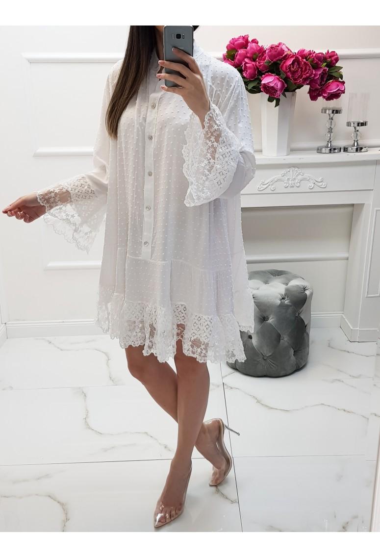 Šaty Sinthia s čipkou - biele