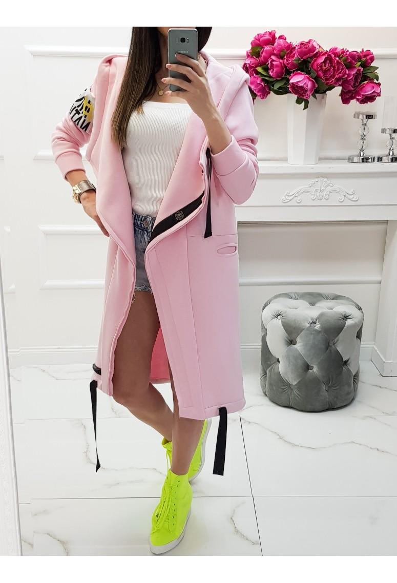Hrubý teplákový kabát MC - soft pink
