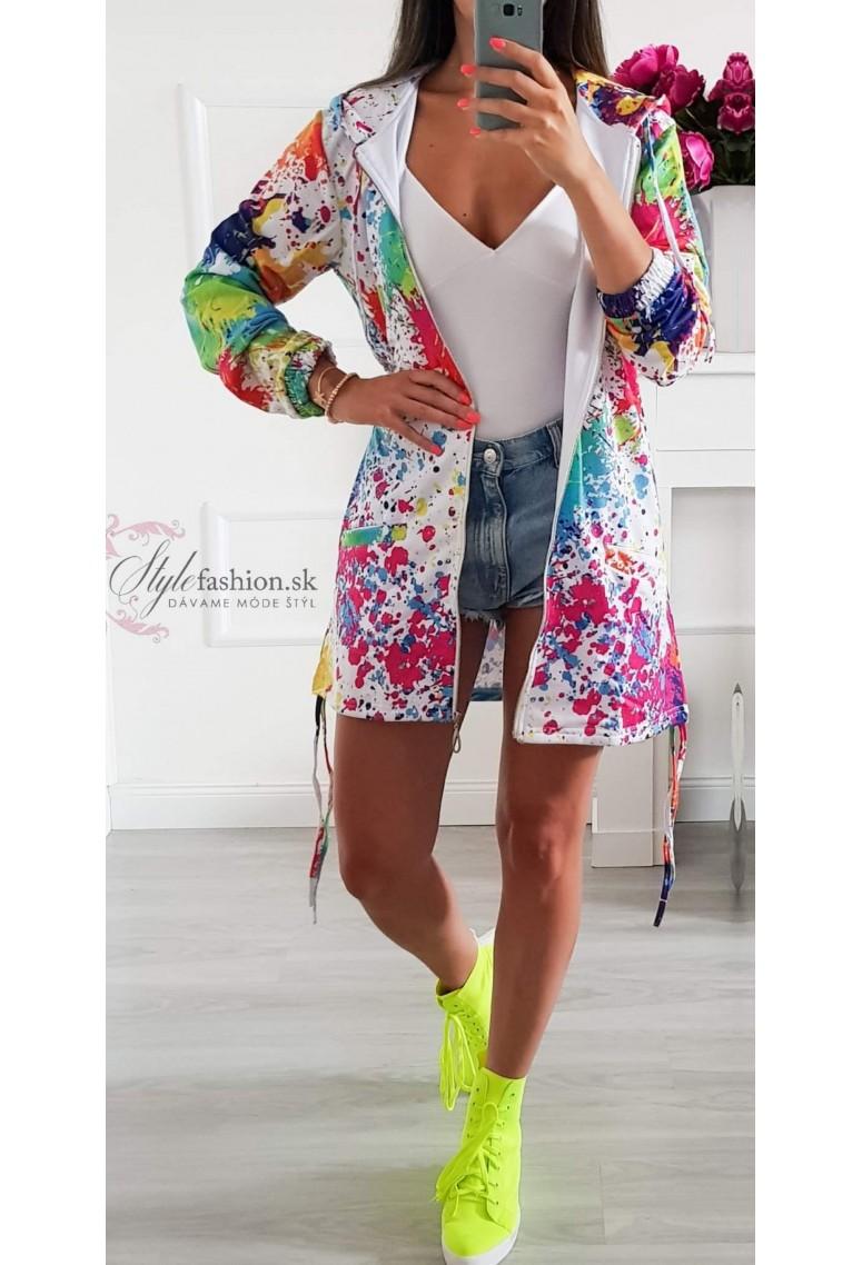 Tepláková bunda Color / Whitte