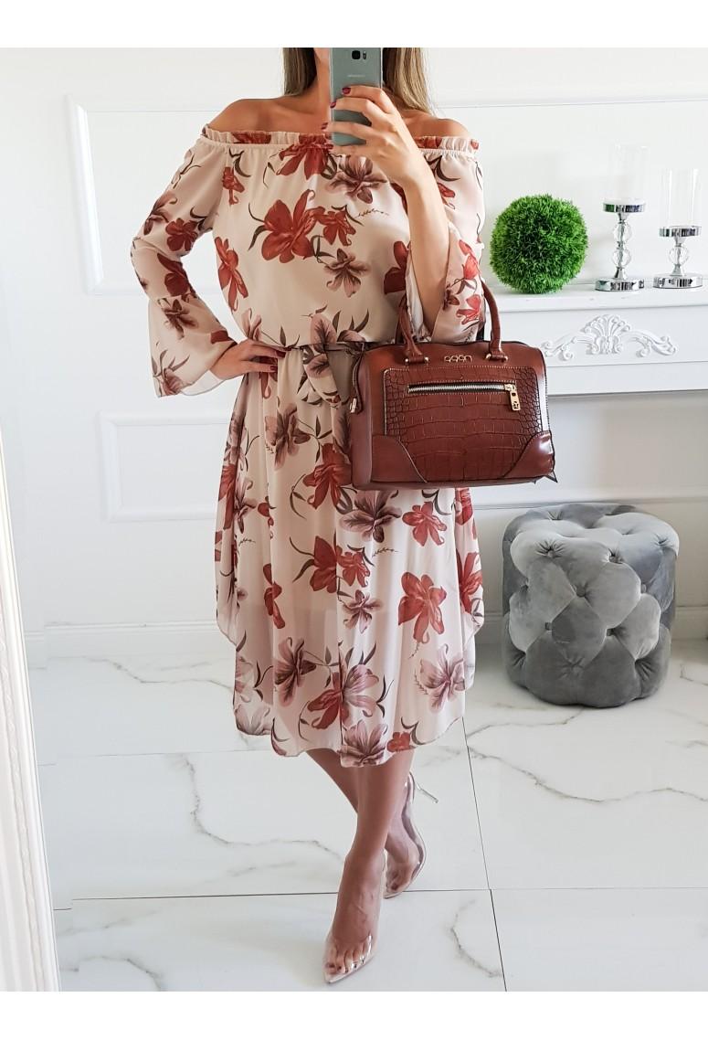 Šaty Laryss Autumn Flowers - Beige