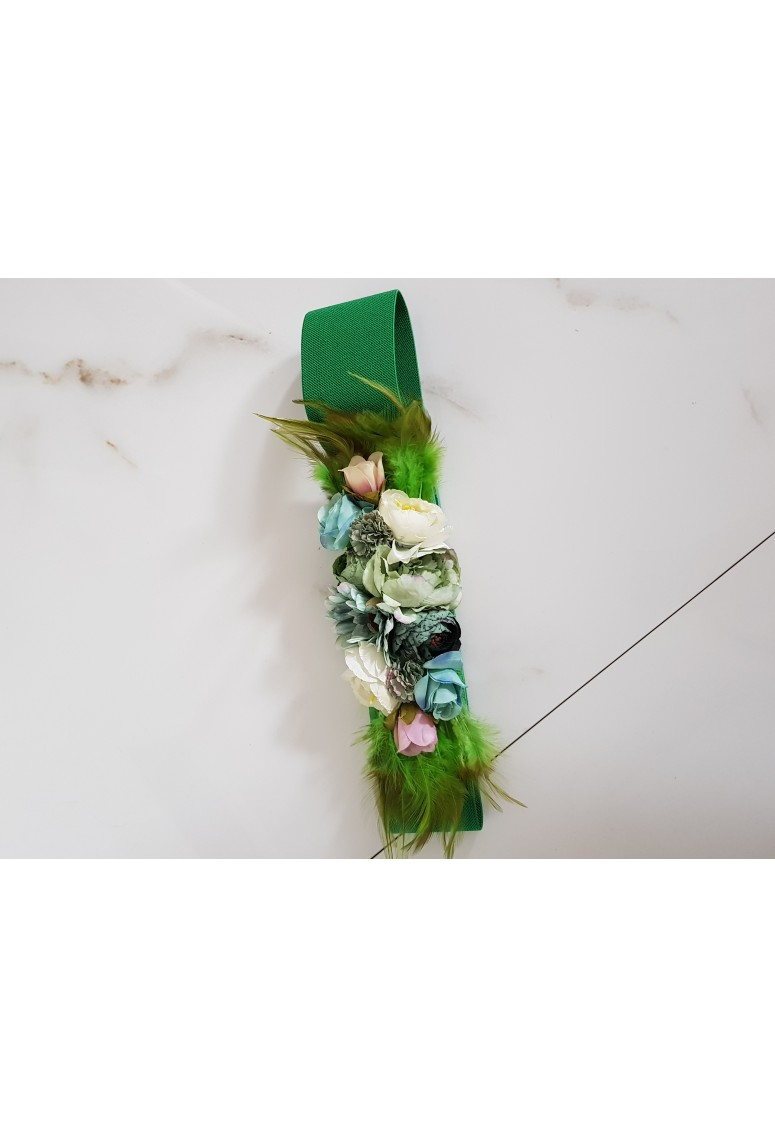 Hrubý opasok Flowers - green