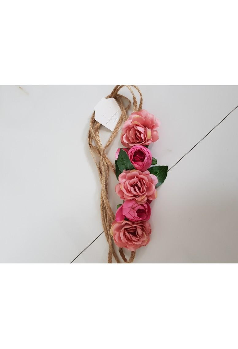 Ľanový opasok Floria - dark pink