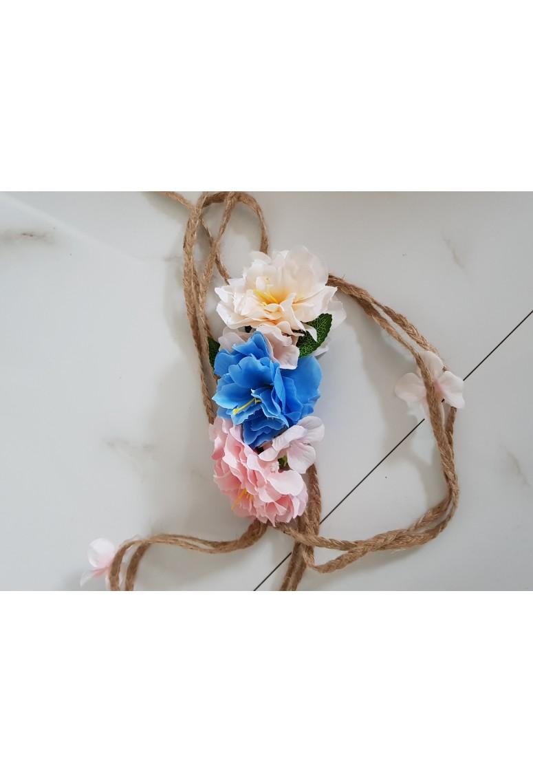 Ľanový opasok Floria - pink blue