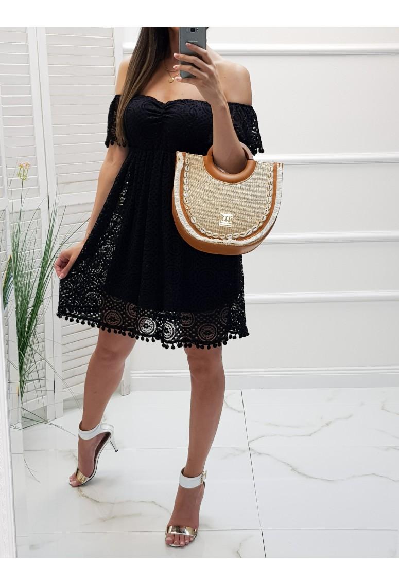Čipkované šaty Noah - čierne