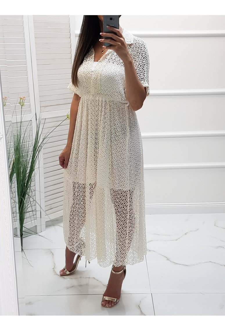 Dierované šaty Fabricia - creme