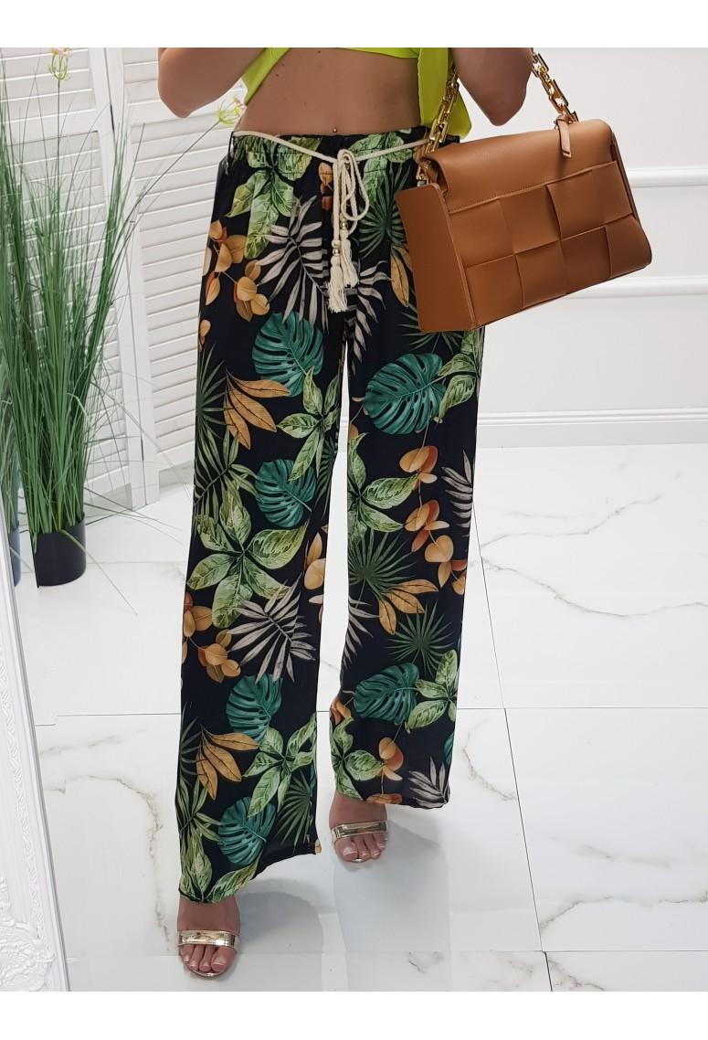 Saténové voľné nohavice Palms