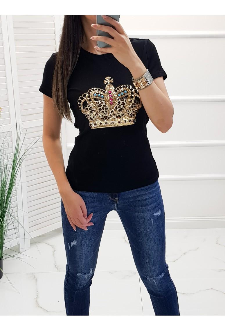 Bavlnené tričko Crown - čierne