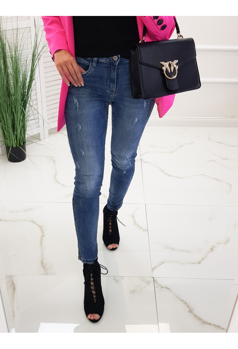 Skinny jeans Milano - modré/ zips