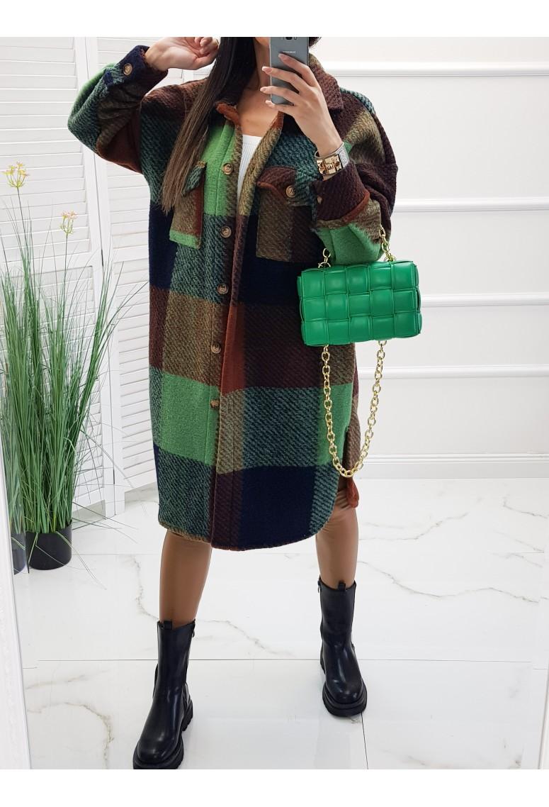 Vlnený oversize kabát Massim - green