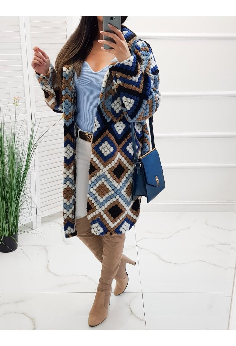 Vlnený oversize kabát Lina - modrý
