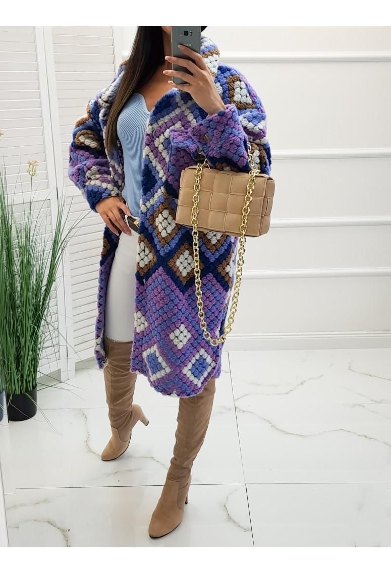 Vlnený oversize kabát Lina - fialový