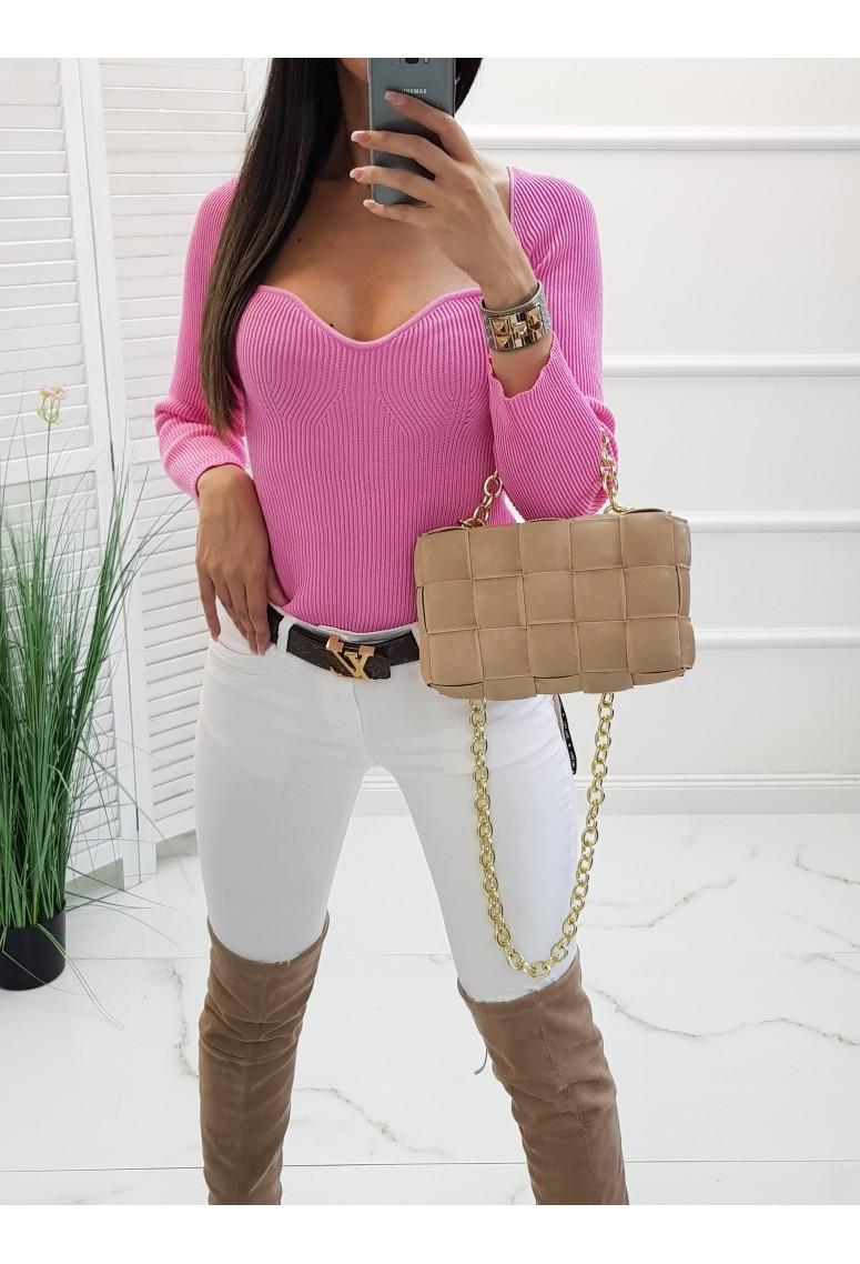 Úpletový svetrík Oxana - sweet pink