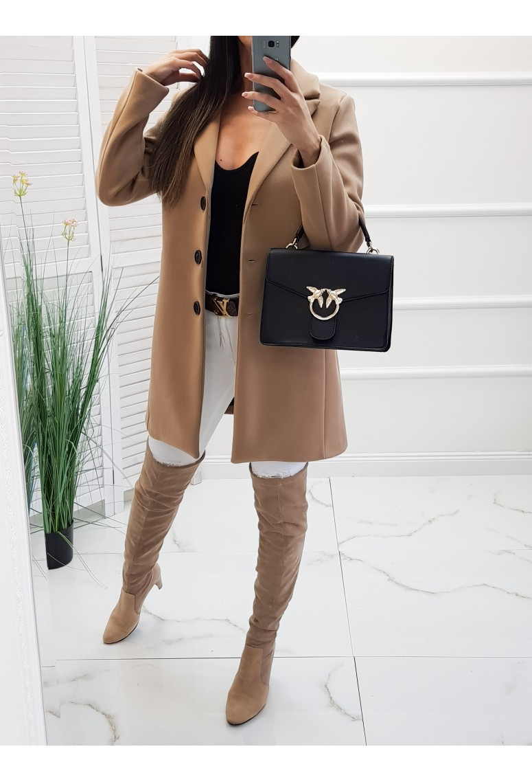 Hrubší kabát Bluvel - camel