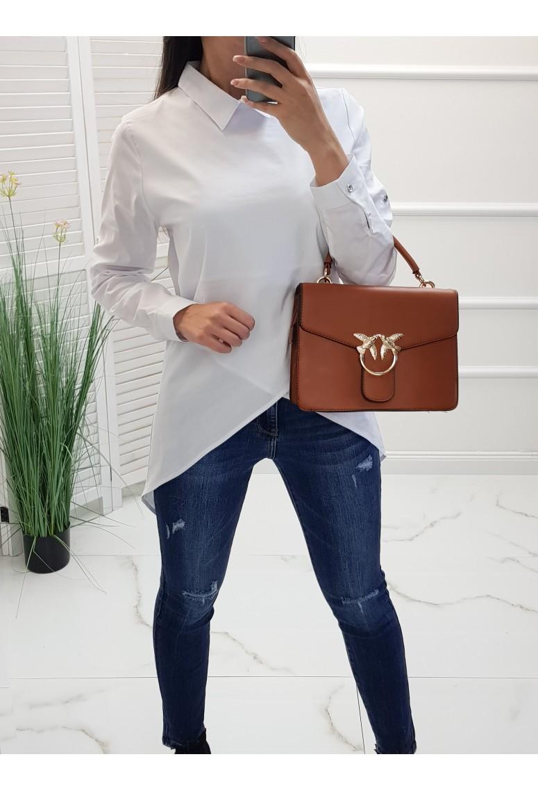Bavlnená asymetrická košeľa Amel - biela