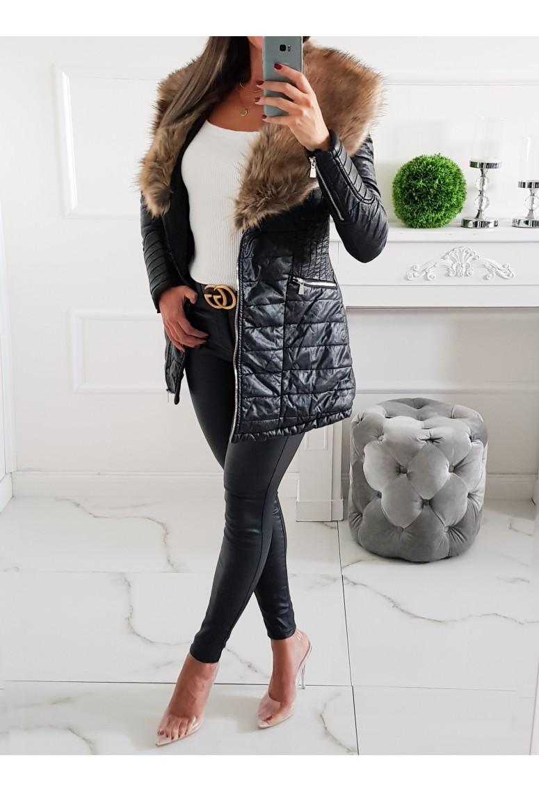 Hrubý koženkový kabát Alessia