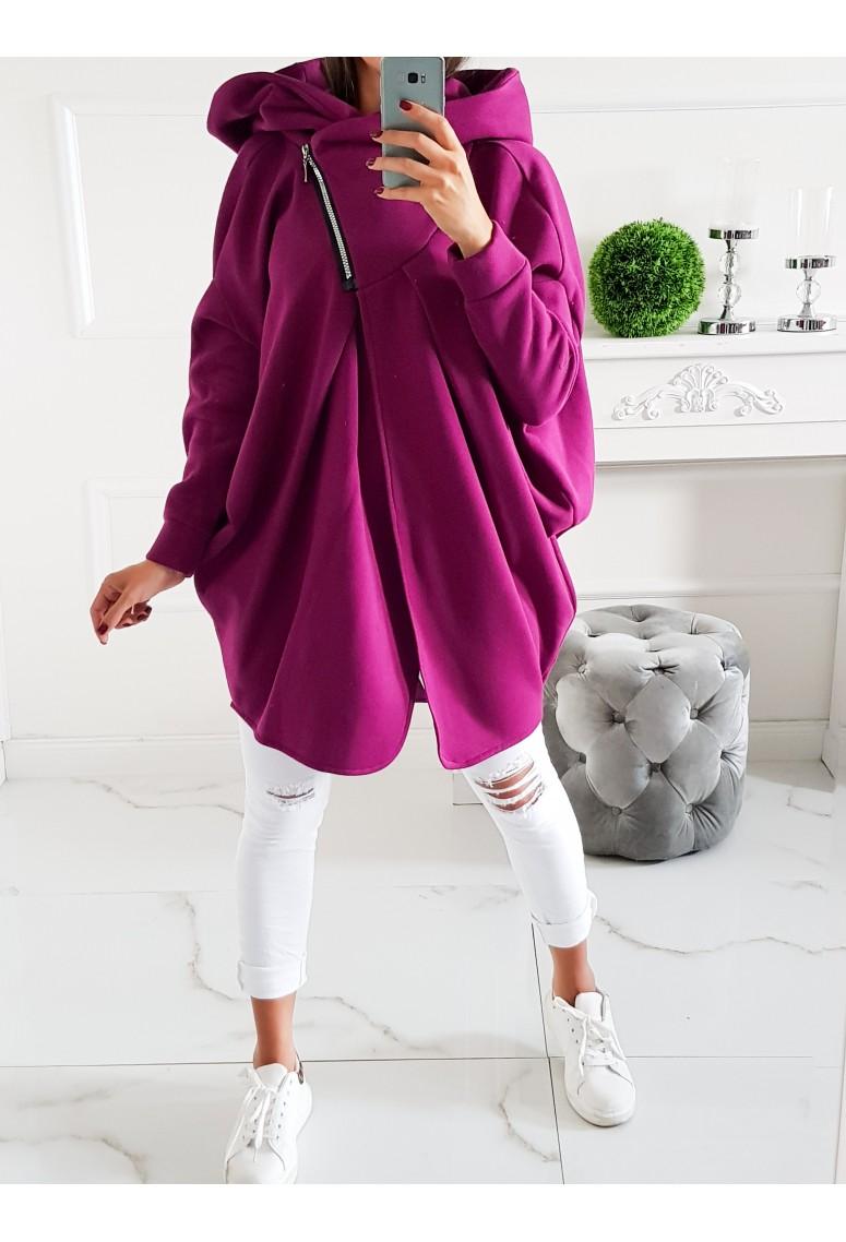 Oversize hrubý teplákový kabátik Minnie - fuchsia