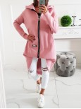Hrubá asymetrická tepláková bunda MC zips - ružová