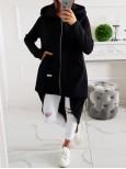Hrubá asymetrická tepláková bunda MC zips - čierna