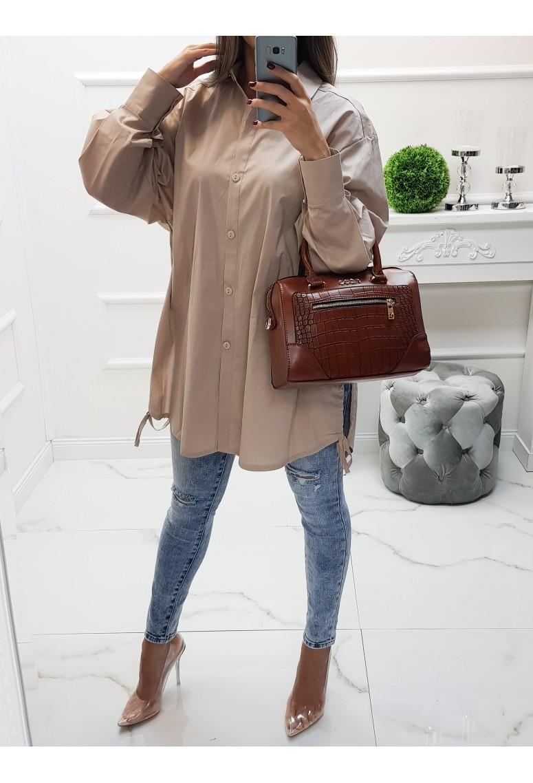 Oversize košeľa Claritta - béžová