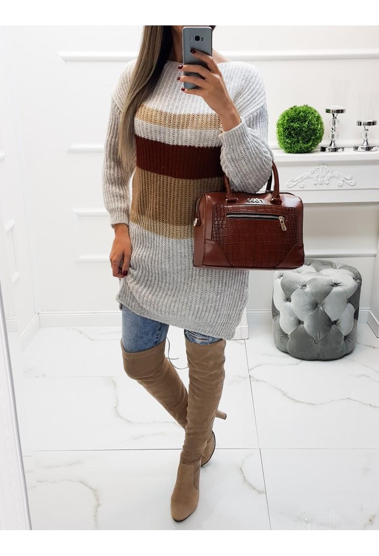 Dlhý pletený sveter Debby - Sand Beige