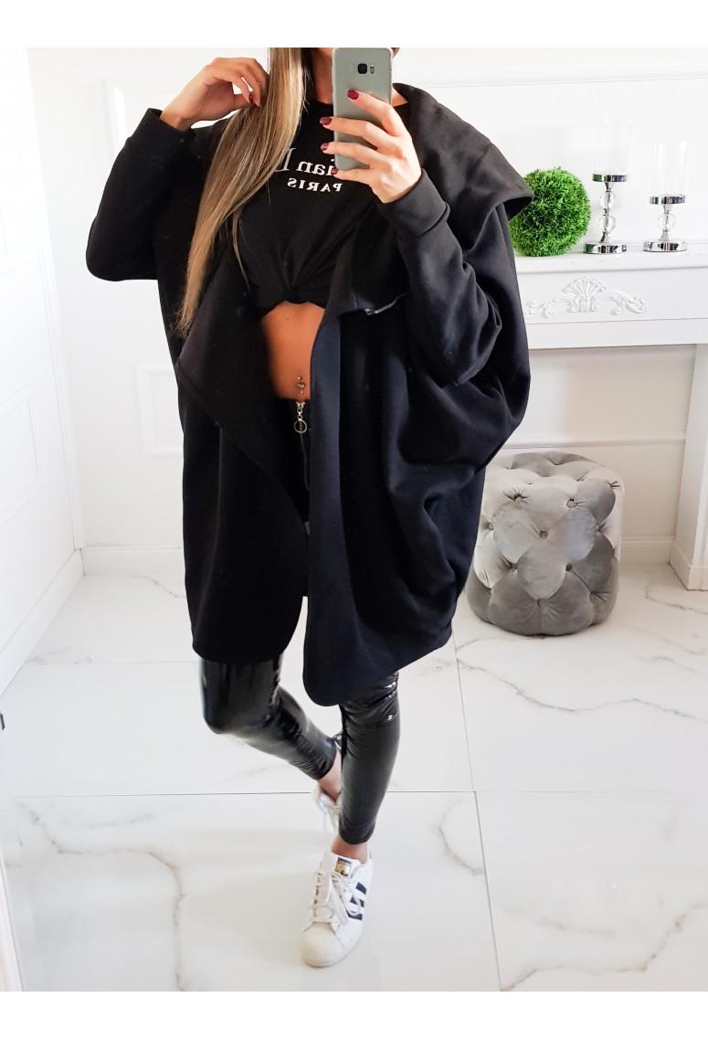 Oversize hrubý teplákový kabátik Minnie- čierny