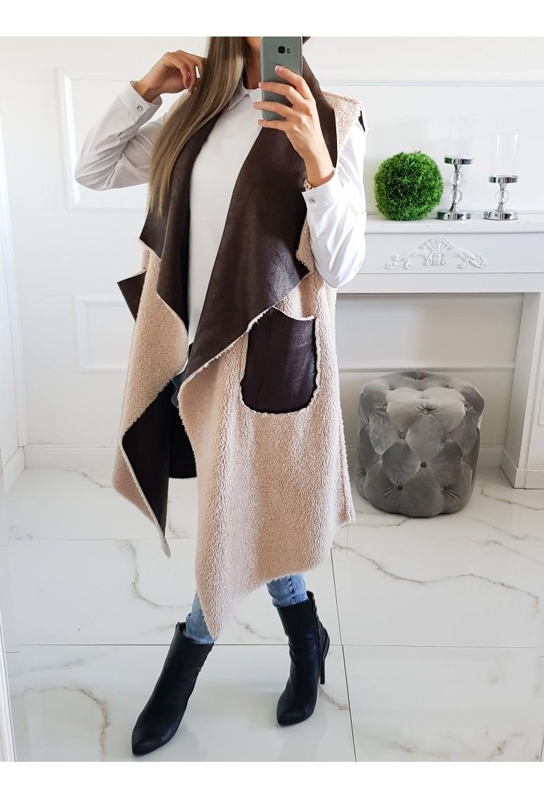 Obojstranná predlžená vesta Sheep - hnedá