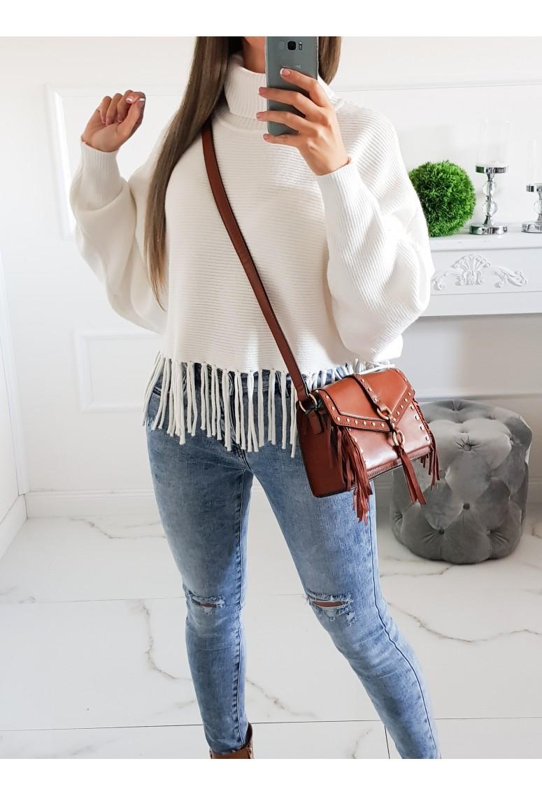 Rolákový sveter so strapcami Bergamo - biely