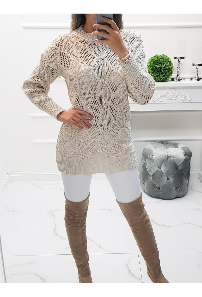 Perličkový sveter Lauren - Beige