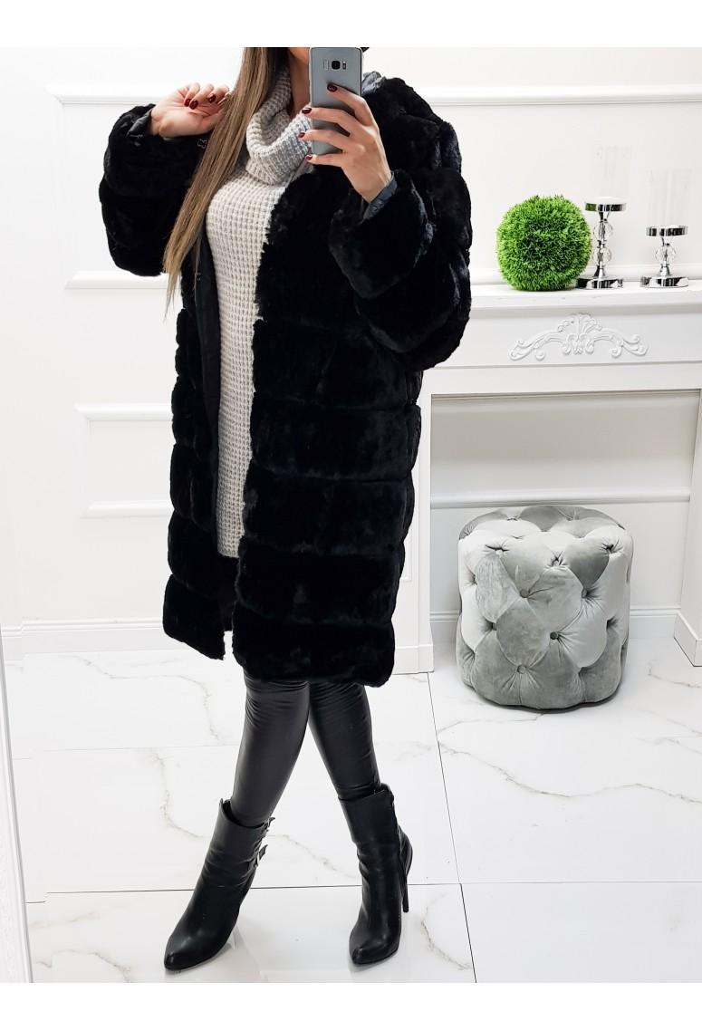 Kožušinový kabát Loss - čierny