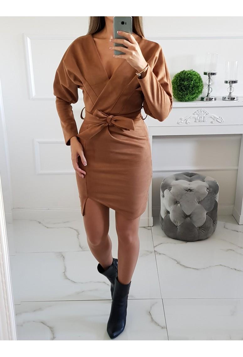 Semišové šaty Italy - Camel