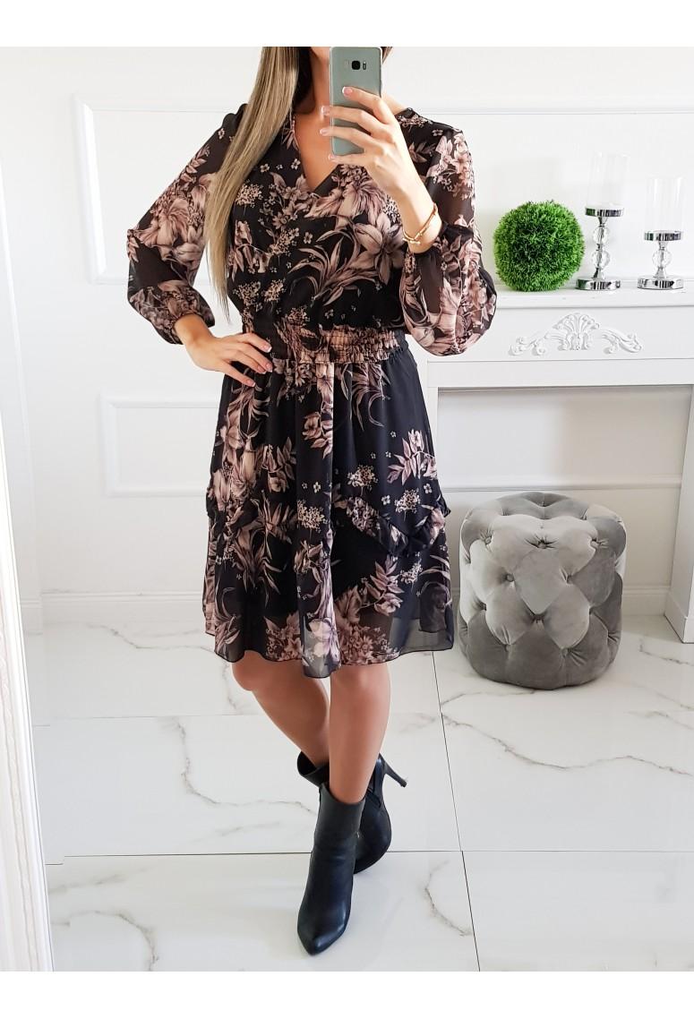 Šaty Ally Black kvetované