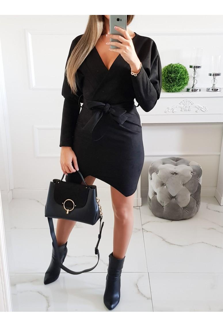 Semišové šaty Italy - čierne