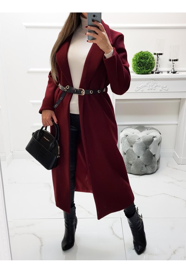 Dlhý prechodný kabát s opaskom Chiaretta - vínový