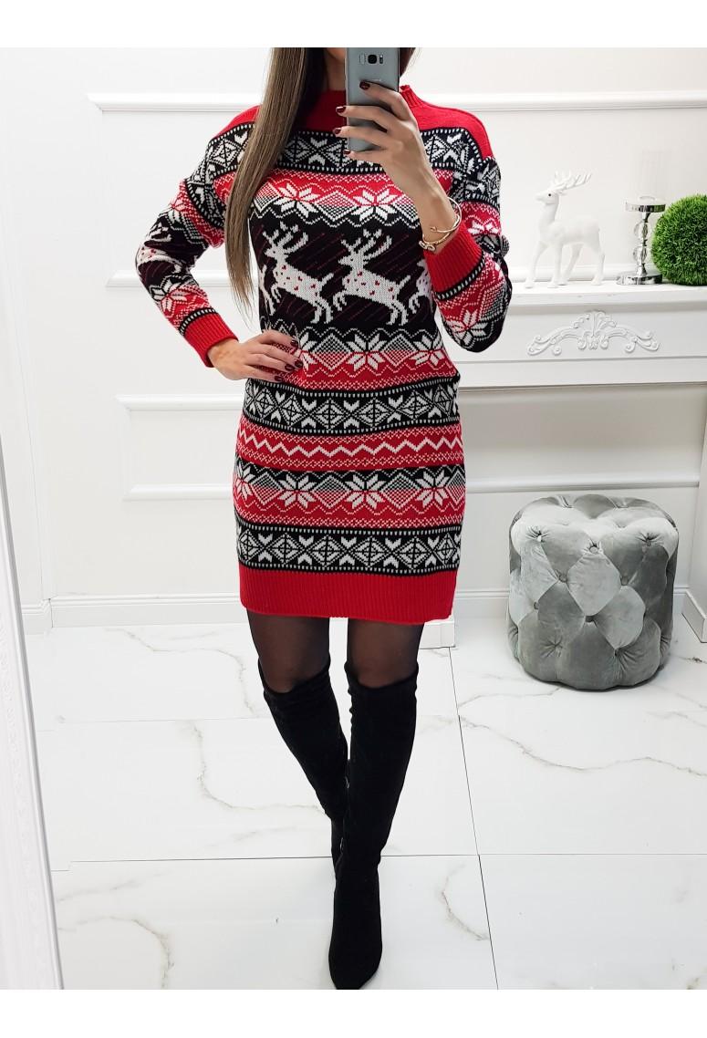Pletené vianočné šaty Christmas Red