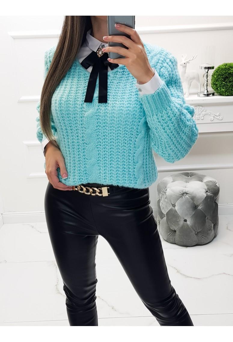 Pletený sveter Jenny - tyrkysový