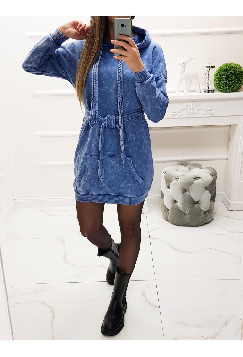 Teplakové šaty / mikina Troxy - mramorovo modré