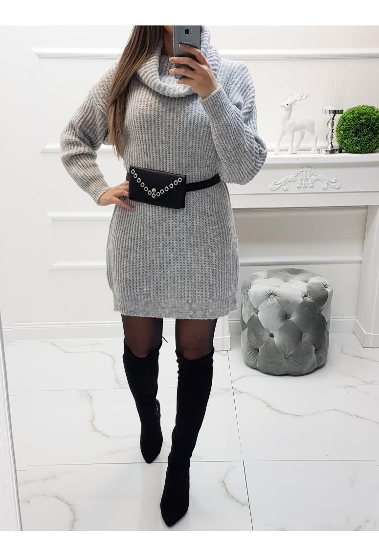 Pletené šaty Taria - sivé