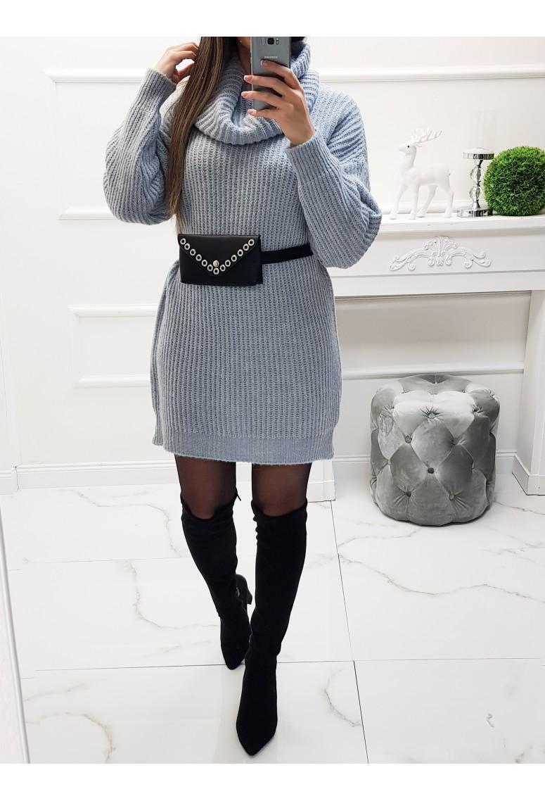 Pletené šaty Taria - belasé