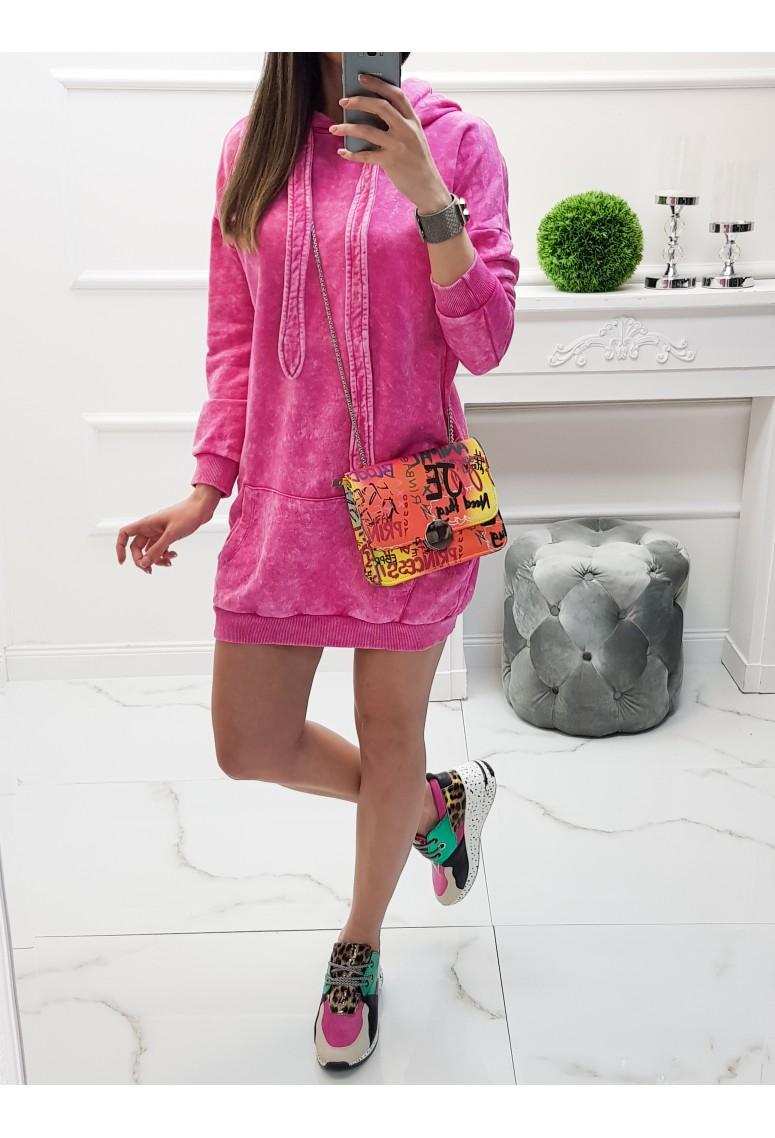 Teplákové šaty / predlžená mikina Axel - dark pink